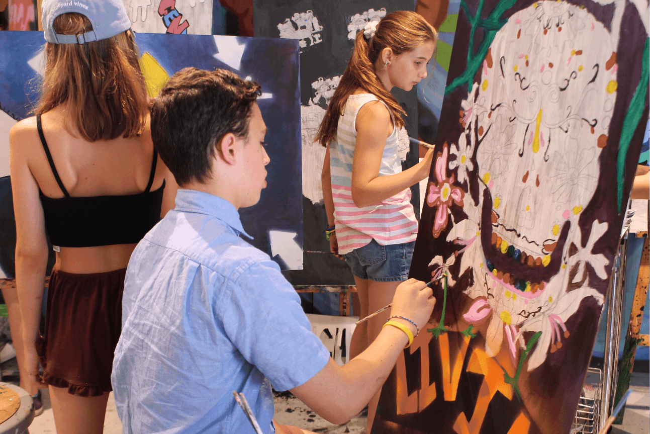 Young Adults painting during art class
