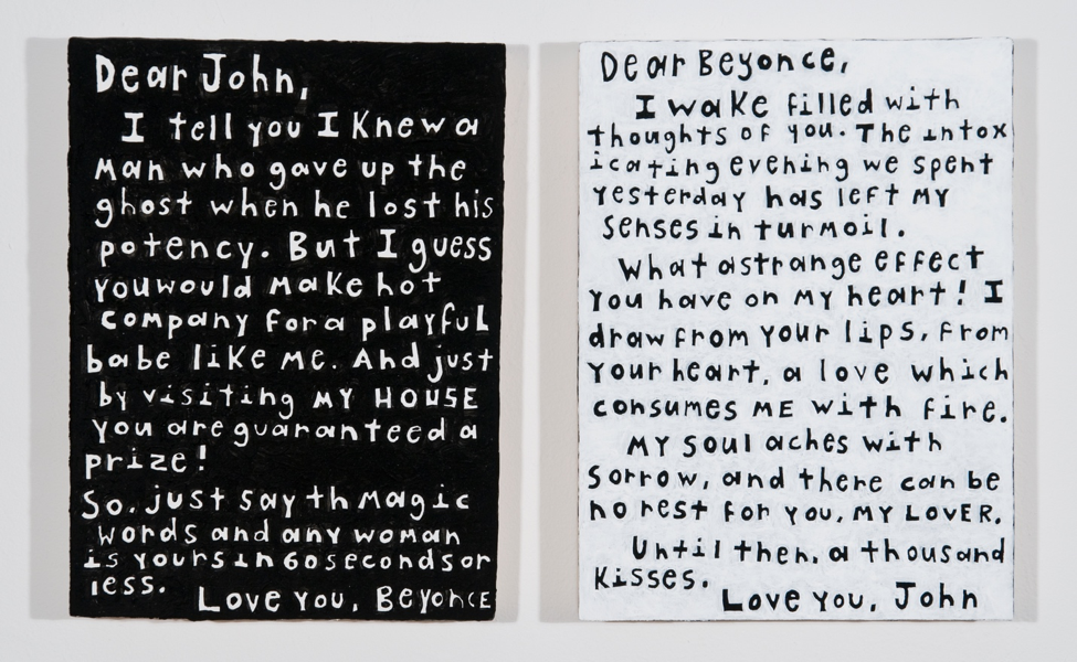 Love Letters (Diptych), 2013, Acrylic on panel, 9 x 12 (each panel)