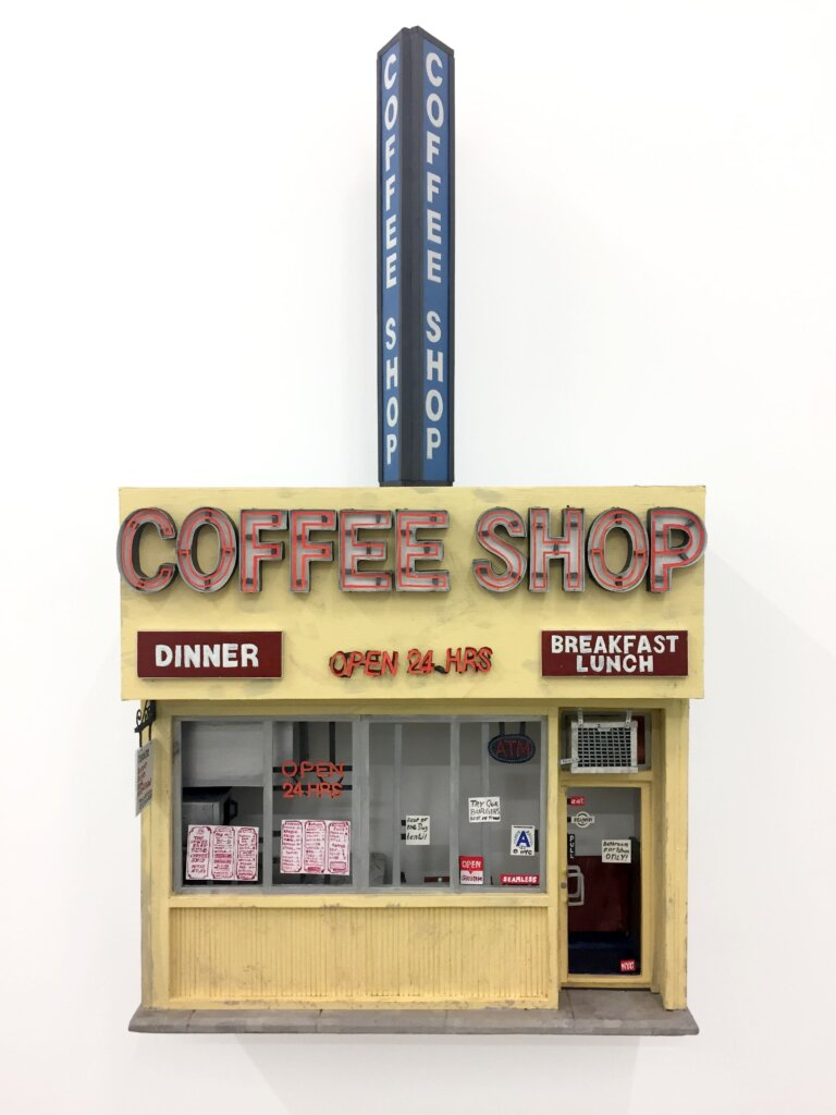 Lower East Side Coffee Shop, 2016, foam, glue, paper and paint, 31 x 17 1/4 inches x 7 1/4 inches