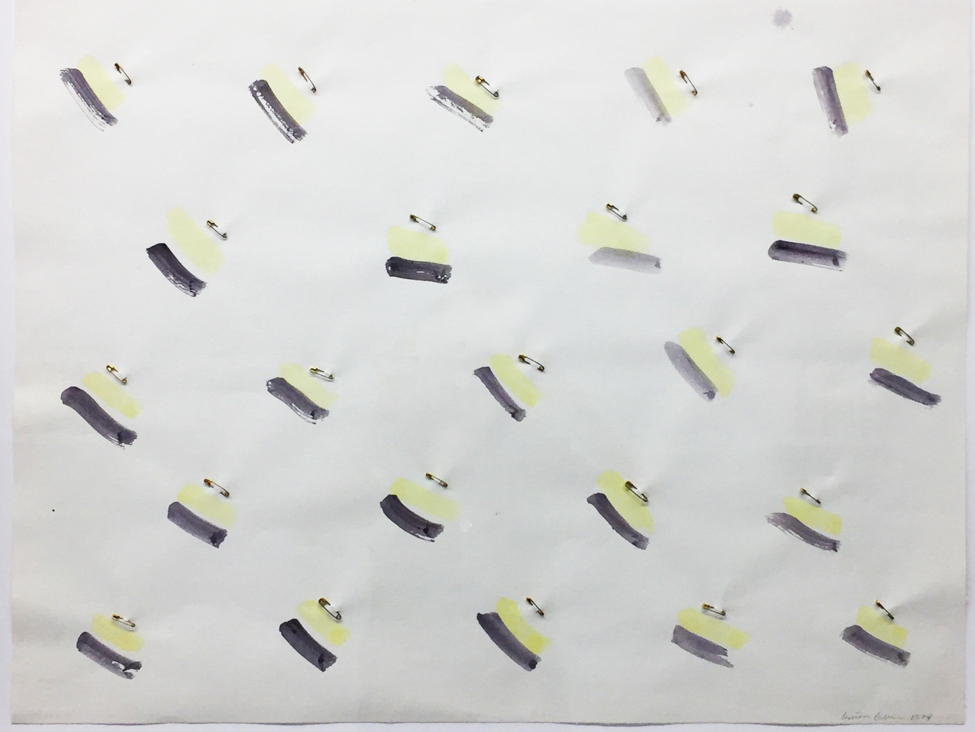 Zig Zag Ace, 1974, Safety Pins and Watercolor on Rag Paper