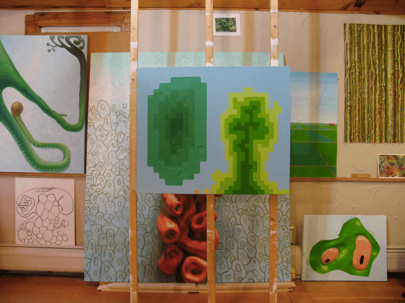 Studio arrangement of paintings and works on paper, 2014 All photos courtesy of the artist and David Nolan Gallery