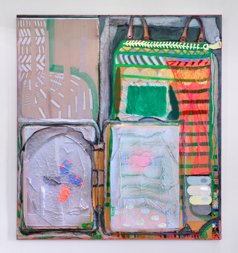 "Packing (Touch Screen), 2018  Fabric dye, flashe, oil stick, linen, baby socks and vacuum formed plastic on linen, 54"" x 60"""