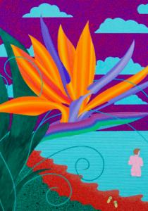 Eric Hibit Bird of Paradise with Bather  30x36  Acrylic on panel  2018